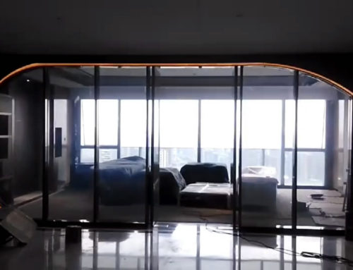 Shaped smart glass for modern office partition