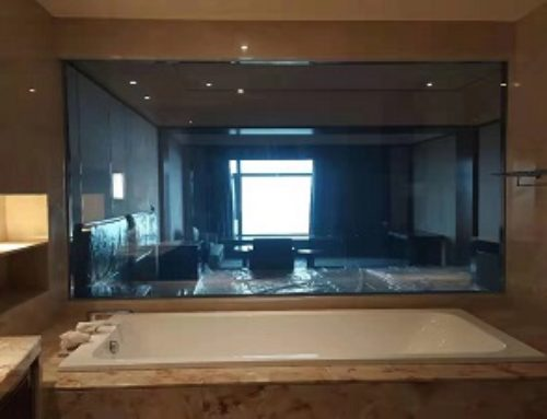 Switchable smart glass for hotel bathroom partition in Shanwei, Guangdong